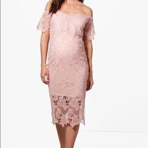 Off the shoulder lace maternity dress